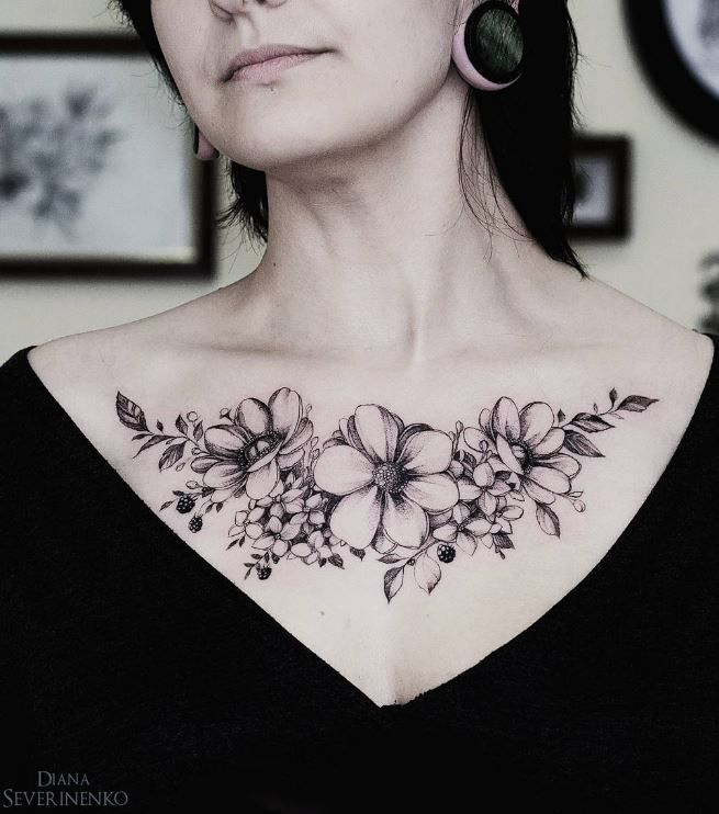 Marvelous Anemone Flowers Tattoo