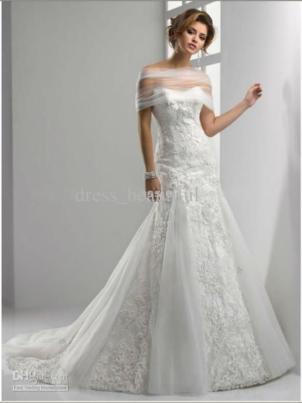 Wholesale Detachable Shawl Wrap Sweetheart Lace Tulle Mermaid Beach Wedding Dresses Bridal Gown Gowns