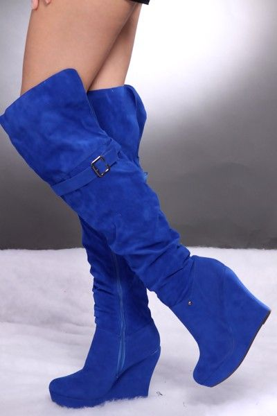 Royal Blue Wedge Sandals Royal Blue Faux Suede Slouchy