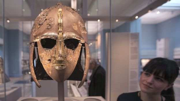 The remaining fragments of the Sutton Hoo warrior's helmet are on display at the British Museum in London