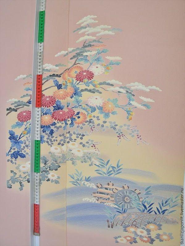 """Купить Японский шелк """"Хризантемы и мельница"""" - японский шелк, японский стиль, гейша, японская вечеринка"""