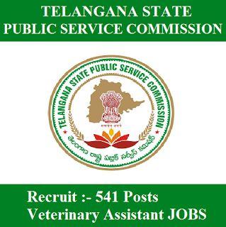 TSPSC Recruitment 2017   541 Posts   Veterinary Assistant Jobs   Sarkari Naukri