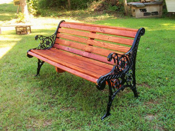 Patio Bench Restoration,Yard Bench,Wrought Iron/Slat Wood Bench on Etsy,
