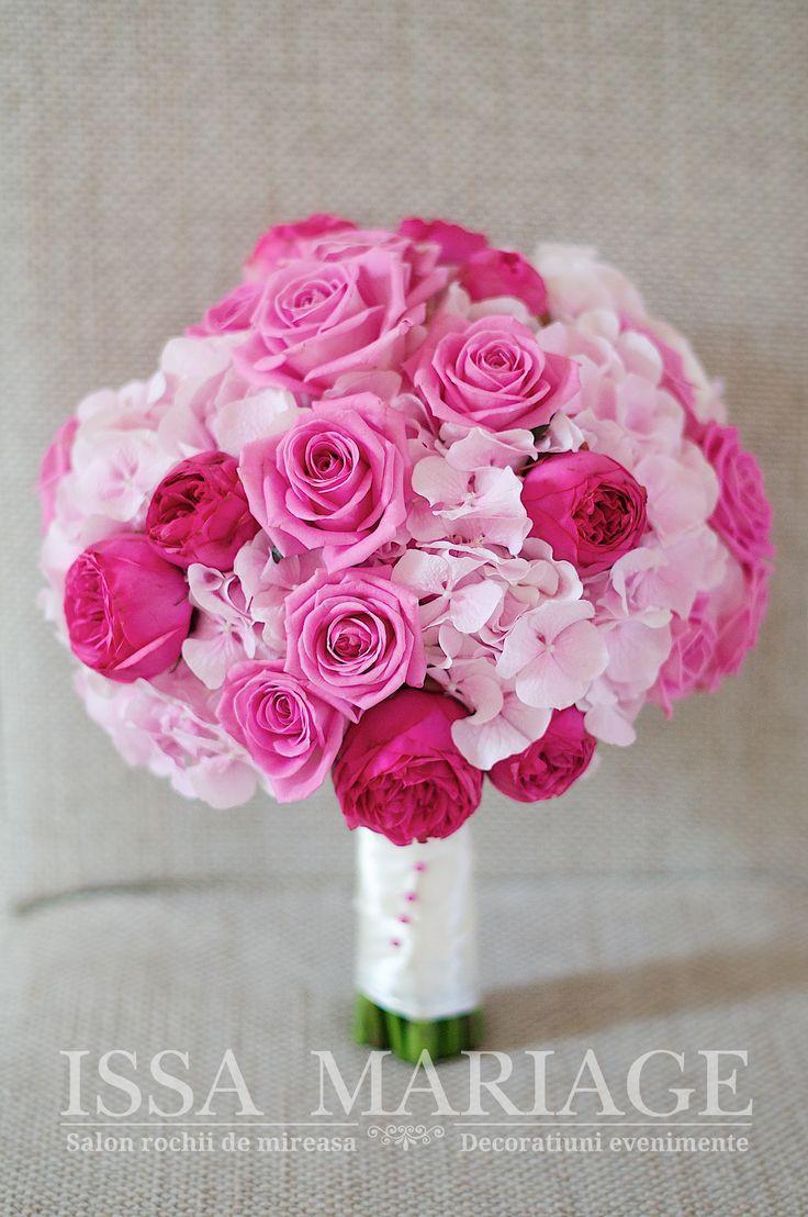 Buchet mireasa trandafiri roz si rosii