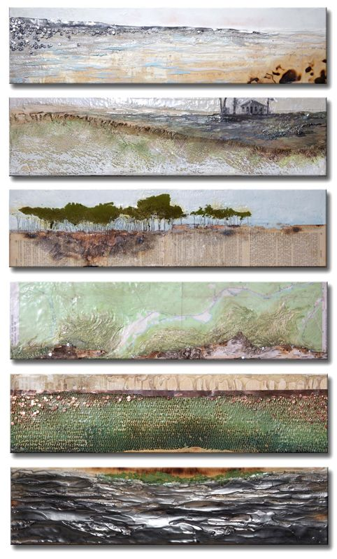 """Robin Luciano Beaty """"Refuge #1-6"""" (2013) Encaustic, mixed media and vintage…"""