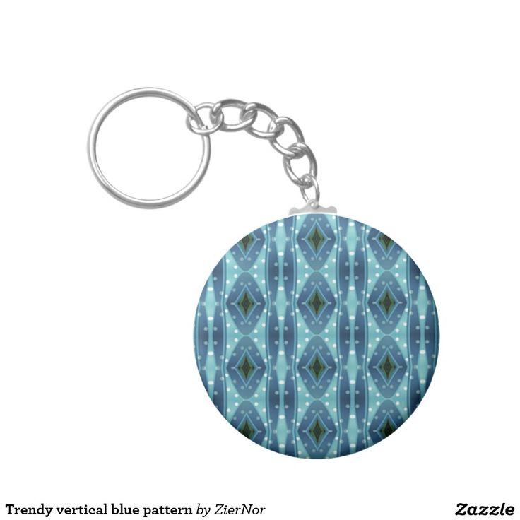 Trendy vertical blue pattern basic round button keychain