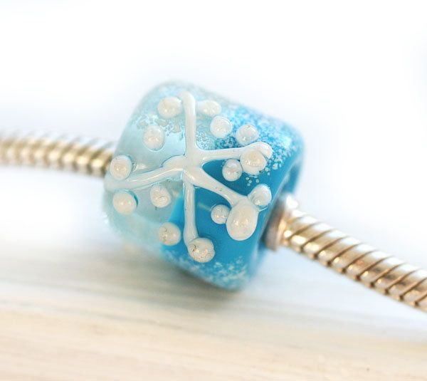 SALE bead, Snowflake charm, Blue glass bead, large hole bead, Winter jewelry, European charm, Lampwork, Discount, Snowflake bead, MayaHoney by MayaHoneyJewelry on Etsy