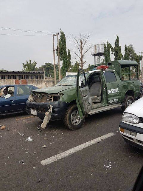 Customs Officers Escape Death As Angry Car Dealers Set Their Patrol Vehicle on Fire