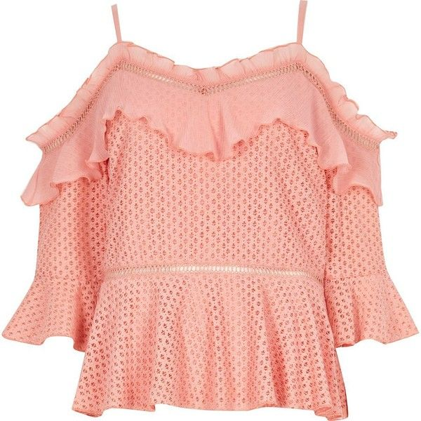 River Island Peach lace frill cold shoulder peplum top ($76) ❤ liked on Polyvore featuring tops, bardot / cold shoulder tops, plum, women, red peplum top, ruffle top, cold shoulder ruffle top, lace camis and lace camisole top
