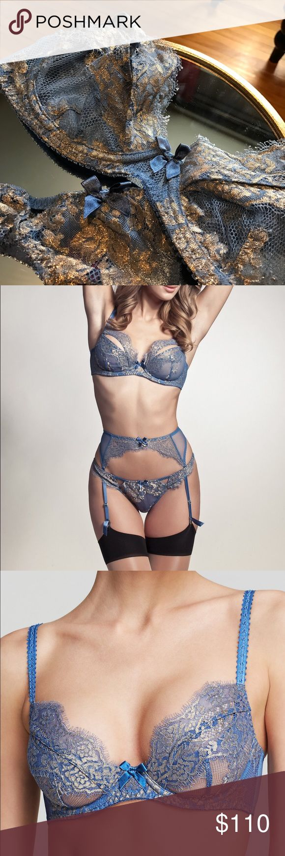 L'agent provocateur blue & gold lace lingerie set Gorgeous luxurious looking powder blue and gold lingerie set from L'agent Agent Provocateur. I've never worn the panties and the bra I've worn once then got it professionally cleaned. It's a beautiful set and I snatched it up when I saw it, but it's small on me. The fabric is really quite stunning. open to offers 😊 the bra is 34D and the thong is XS. Excellent like new condition agent provocateur  Intimates & Sleepwear Bras