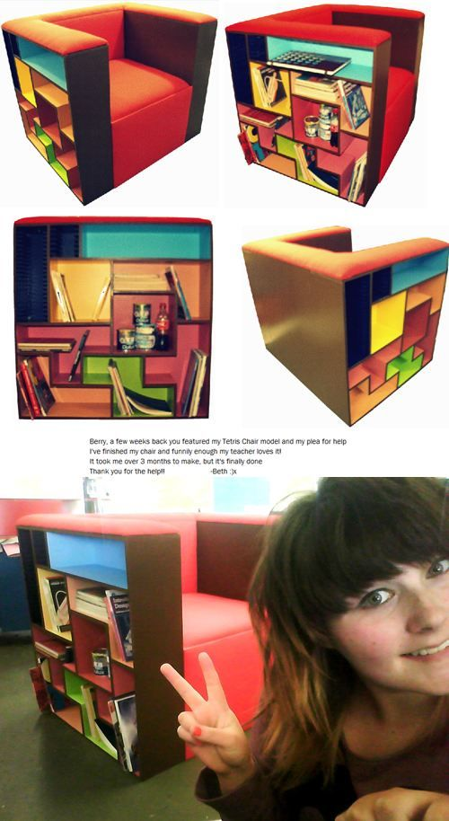 small space ideas: its got a game geek working for it. chair / bookshelves.....
