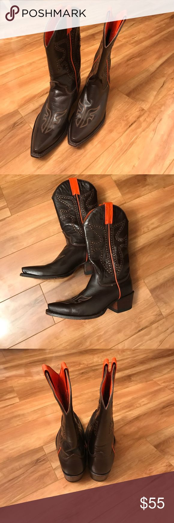 Frye cowboy boots Frye cowboy boots, western cowboy style. Dark brown leather with beaded style. Frye Shoes Heeled Boots