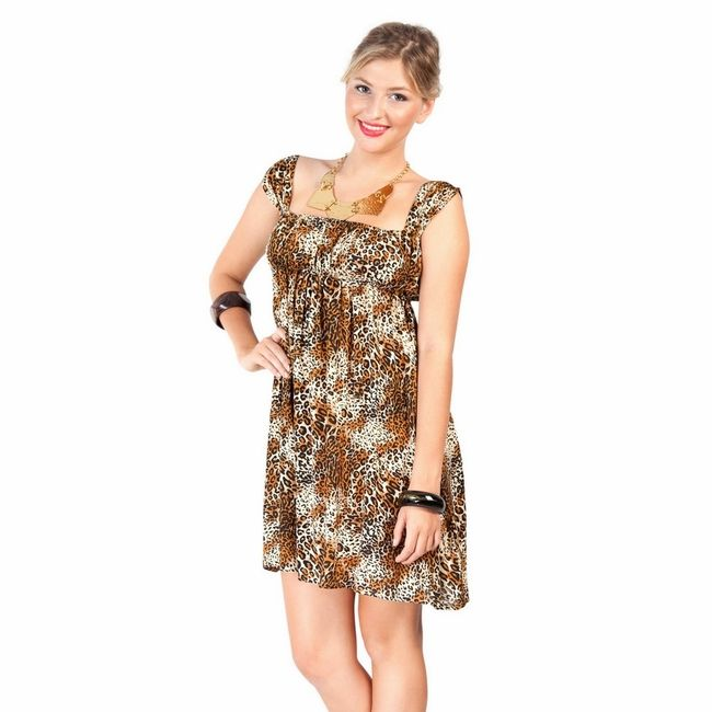 Animal Print Short Dress with Cap Sleeves by 1worldsarongs.com
