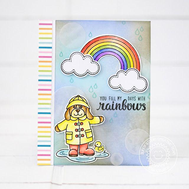 Sunny Studio Stamps: Color Me Happy Rainbow Rainy Day Card by Lexa Levana
