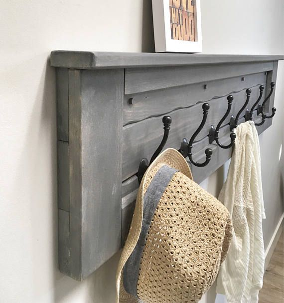 Rustic, contemporary & functional wooden coat rack hooks and shelf This stunning… – Home