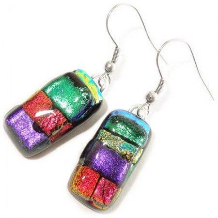 Handgemaakte glazen oorbellen van paars, groen, rood en geel glas. Unieke…