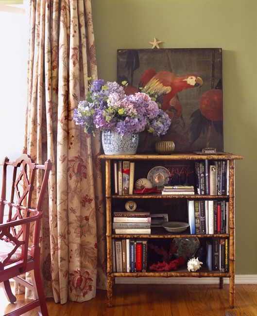 Totally charming vignette with parrot painting and faux bamboo bookshelf + Interior design by: Schuyler SampertonInteriors Design, Faux Bamboo, Bookcas Style, Schuyler Samperton, Living Room, West Hollywood, Schuylersamperton, Samperton Interiors, Bamboo Furniture