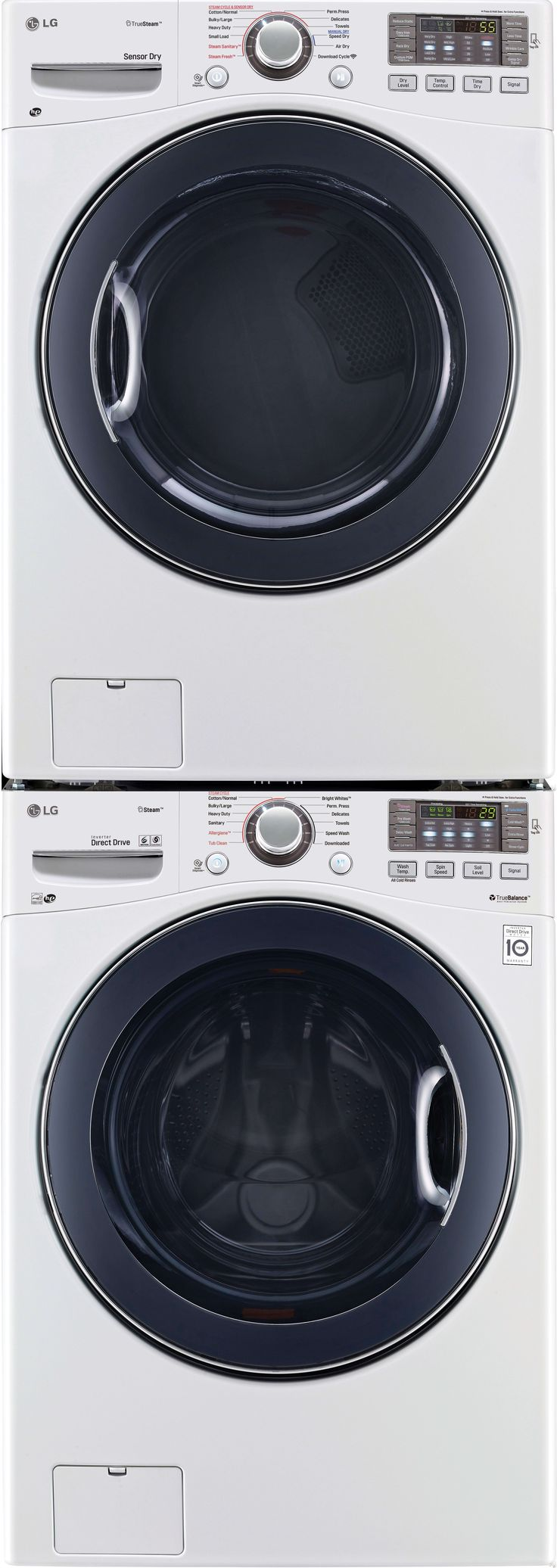 LG LGWADREW95 Stacked Washer & Dryer Set with Front Load Washer and Electric Dryer in White