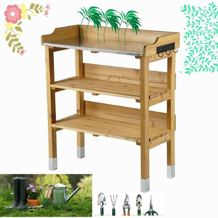 Potting Table Bench Planting Staging flower Pland with Zinc-Plated Worktop