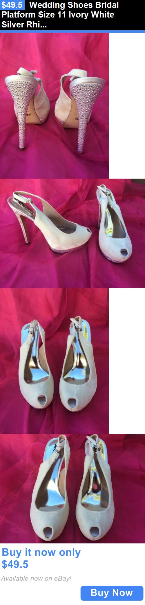 Wedding Shoes And Bridal Shoes: Wedding Shoes Bridal Platform Size 11 Ivory White Silver Rhinestone BUY IT NOW ONLY: $49.5