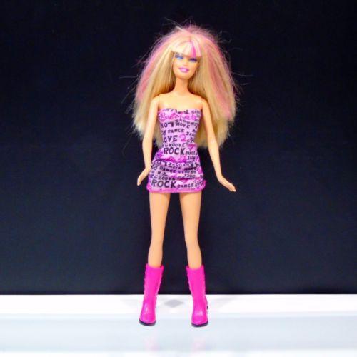 Mattel-Barbie-Doll-1998-Head-1999-Body-Blonde-Hair-Pink-Highlights-Rock-Dress