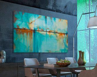 Tableau peinture abstrait large turquoise bleu vert for Peinture cuisine bleu turquoise