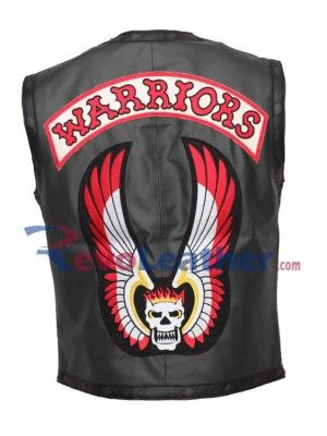 WARRIORS MENS BLACK MOTORCYCLE LEATHER VEST movies leather vest for halloween