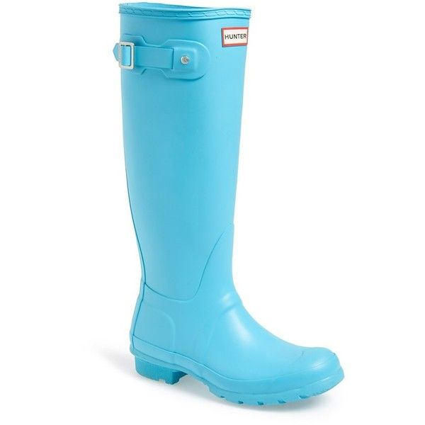 "Hunter 'Original Tall' Rain Boot, 1"" heel ($105) ❤ liked on Polyvore featuring shoes, boots, sky blue, wellies boots, wellington boots, low heel tall boots, tall rain boots and small heel boots"