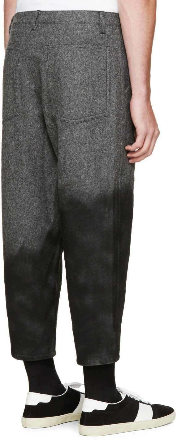 Comme des Garçons Shirt Grey Spray-Painted Wool Trousers