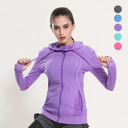 VE&CO Women's Running Jackets 2017 New Long Sleeve Running Jacket Yoga Gym Fitness Tight Tops Quick-Dry Breathable Sports Coat
