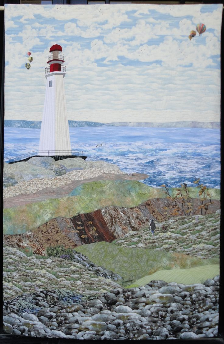 """Lighthouse and Friends"" 4' x 6' wall hanging with a multitude of ""almost hidden"" birds and animals."