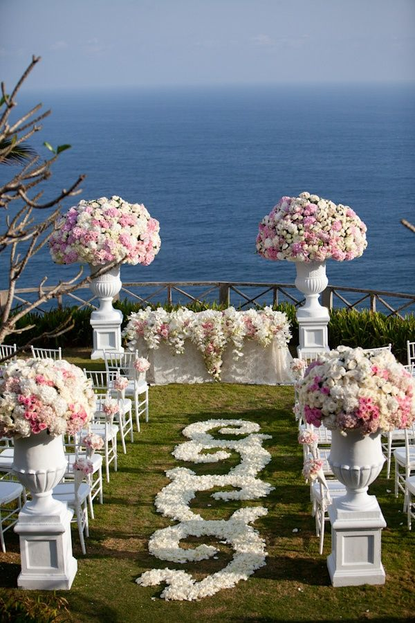 White and Blush Pink Wedding Ceremony  these petals on the ground are pretty @debra gaines gaines gaines Brady