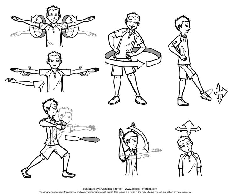 Beginners Archery - Warm up Exercises (2014) - I'm sure there are a lot of other ones, these were just a few. Always do warm up before shooting.