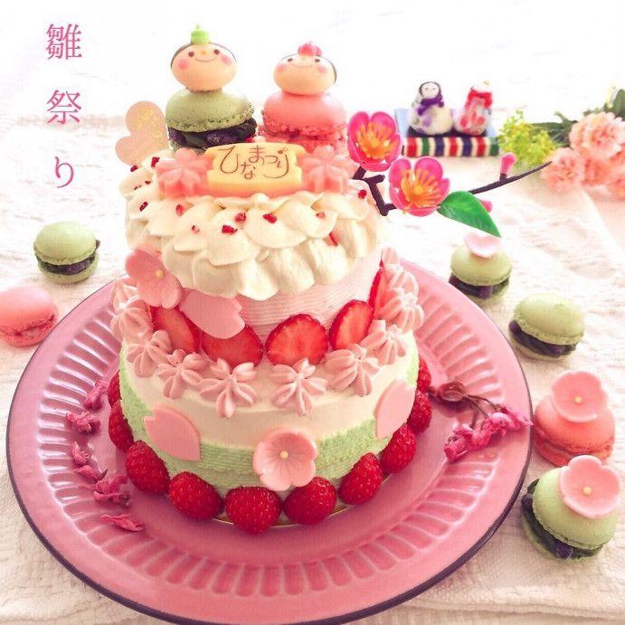 チームショート3月♡二段ひな祭りケーキ♪いちごのショート♡