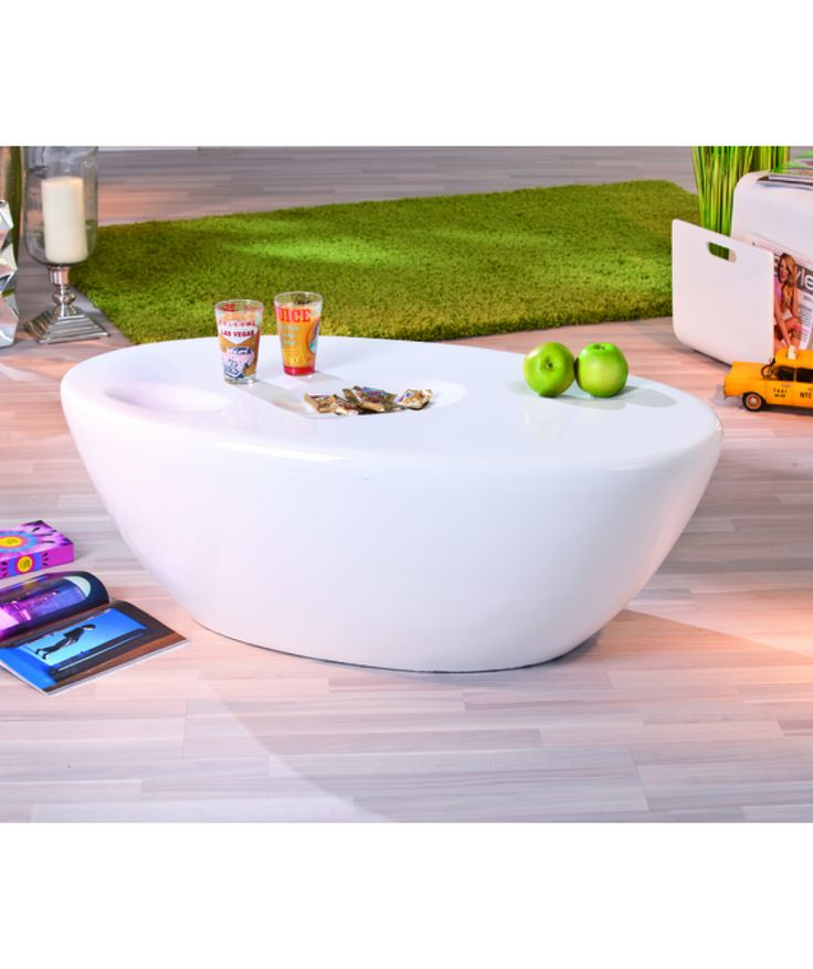 Beautifully Crafted In A Round Shape, The Galaxy Oval White Gloss # Coffeetable Is Extremely