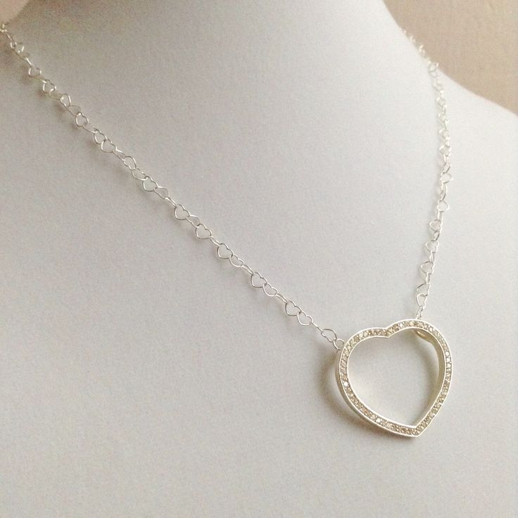 White Heart  ~ 925 Sterling Silver Pendant and Heart Link Necklace by BecauseIamHappy on Etsy