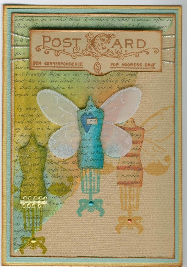 mannequin wings 4744E, postcards cms099: Stamp-it Australia. Card by Susan of Art Attic Studio