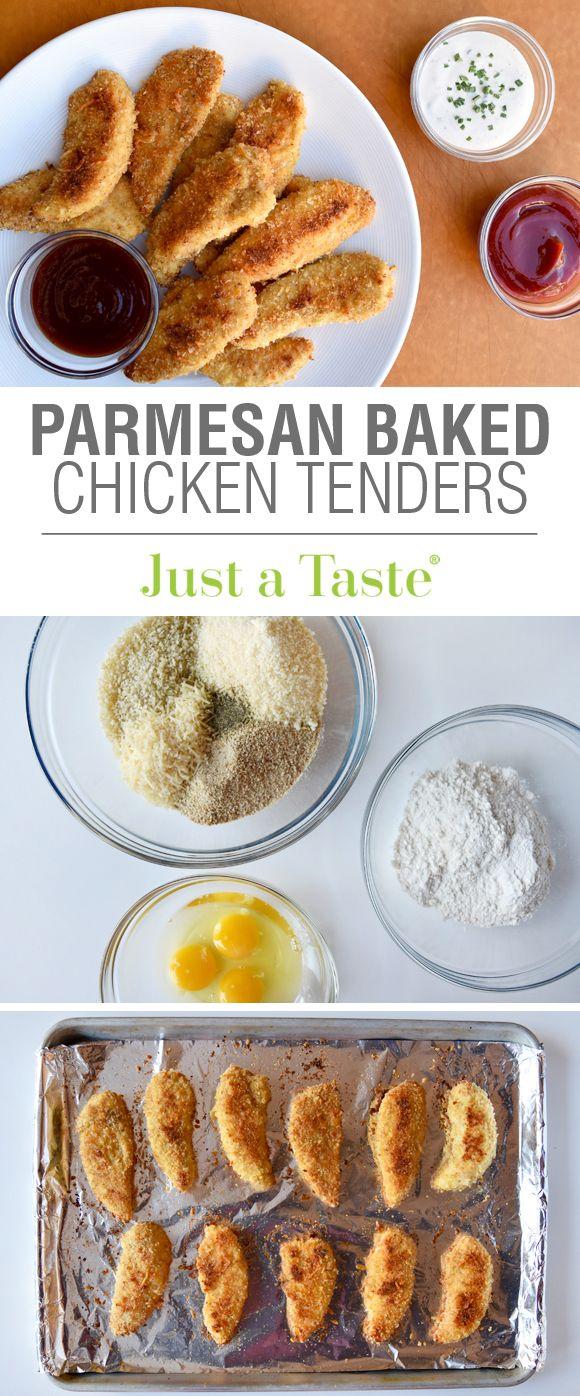 Parmesan Baked Chicken Tenders #recipe via justataste.com