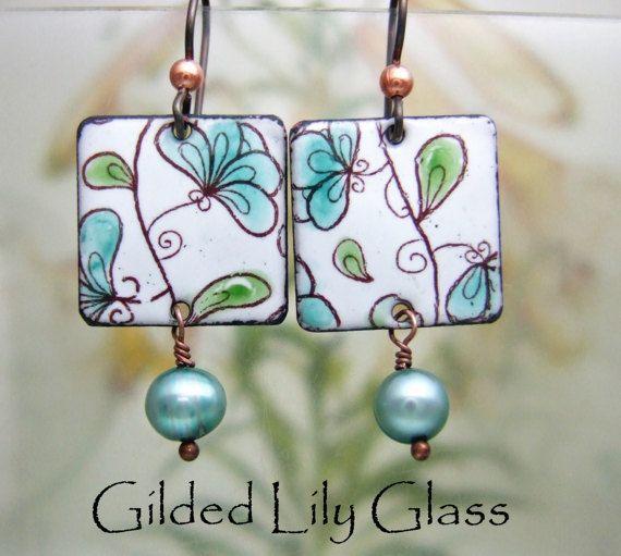 Teal floraciones esmalte pendientes joyas de esmalte de cobre