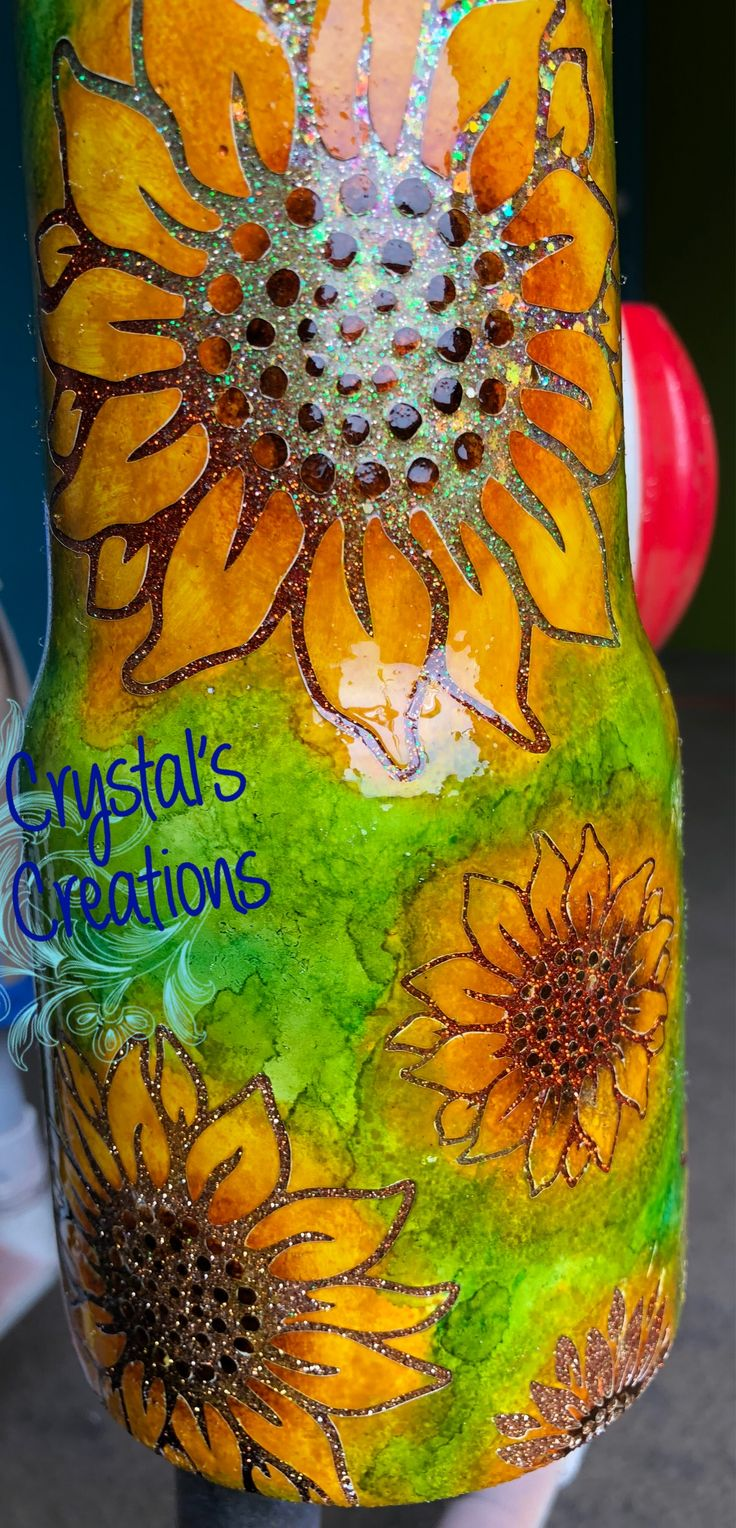 30oz sunflower glitter tumbler