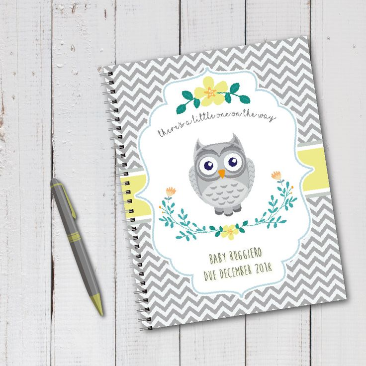 Personalized pregnancy diary with planned pages – Owl, Gray, Yellow, Stripes, Floral …   – Pregnancy Journals