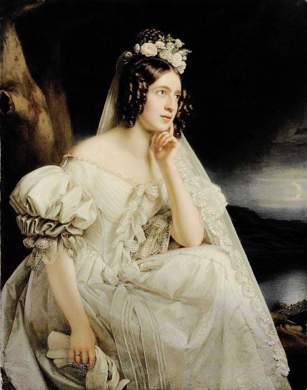 """ The poetess Josephine Stieler, née von Miller as bride - Portrait by her husband Joseph Stieler. Their son Karl Stieler became a famous author. """
