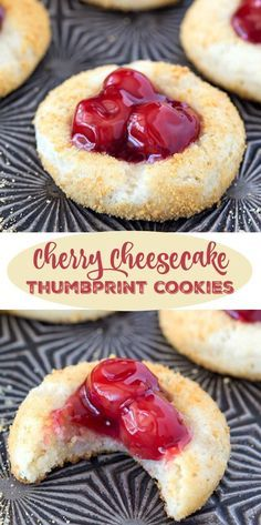 Cherry Cheesecake Thumbprint Cookies - this is a ridiculously easy recipe. Serve this at your Christmas or holiday party. Desserts   Cookbook   Yum