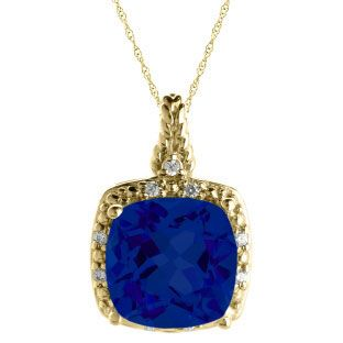 Cushion Cut Blue Sapphire September Gemstone Yellow Gold Diamond Braided Pendant Available Exclusively at Gemologica.com
