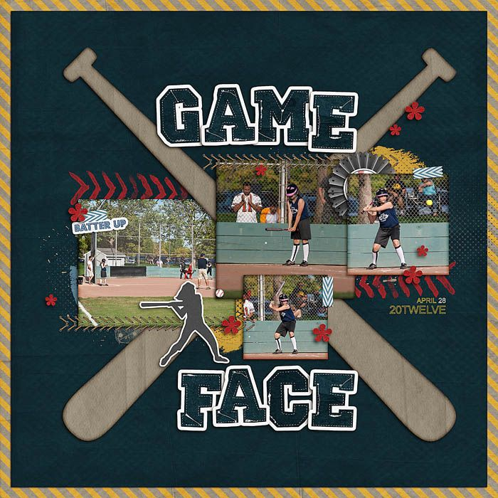 "Baseball Fever ""Game Face"" Digital Scrapbook Kit...Templates: WM2 Designs.  You could also make this layout using cut out bats and letters."
