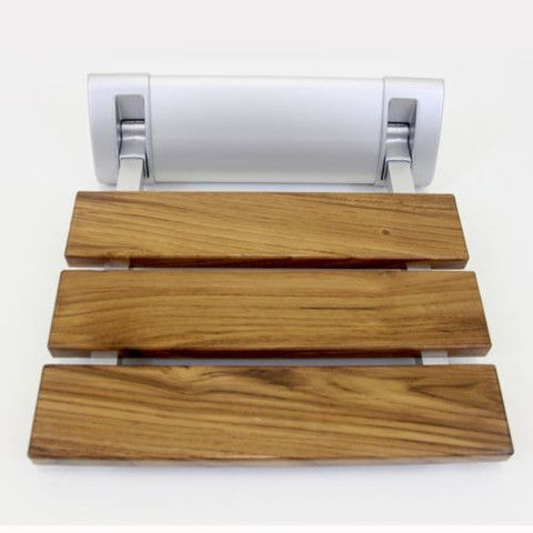 "12"" Teak Mini Folding Shower Seat Bench"