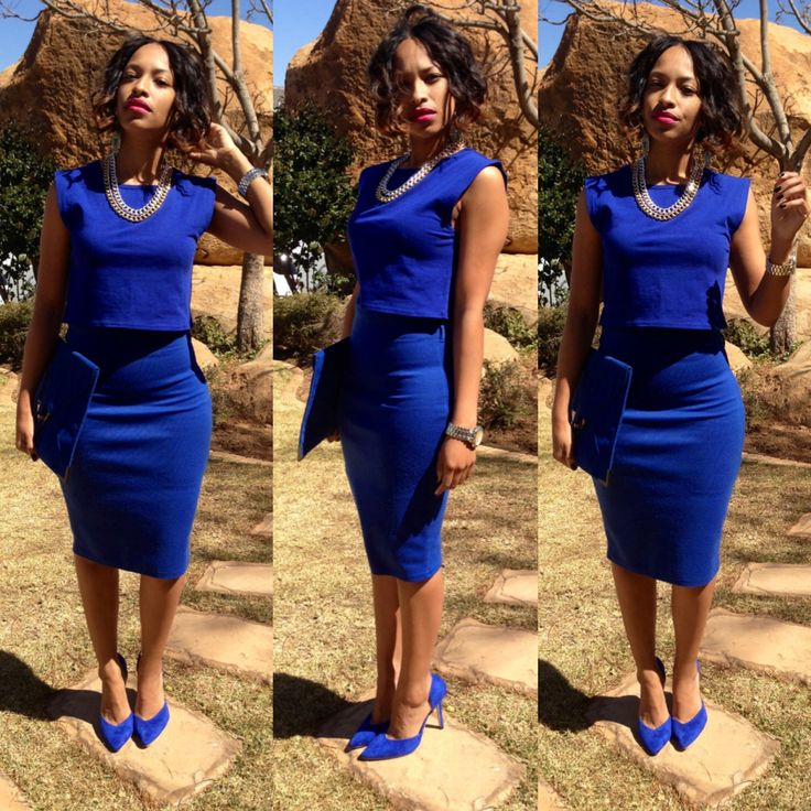wearing cobalt blue from to toe crop top with