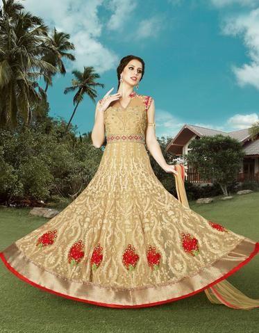 Beige Color Net Dress Material - 1029