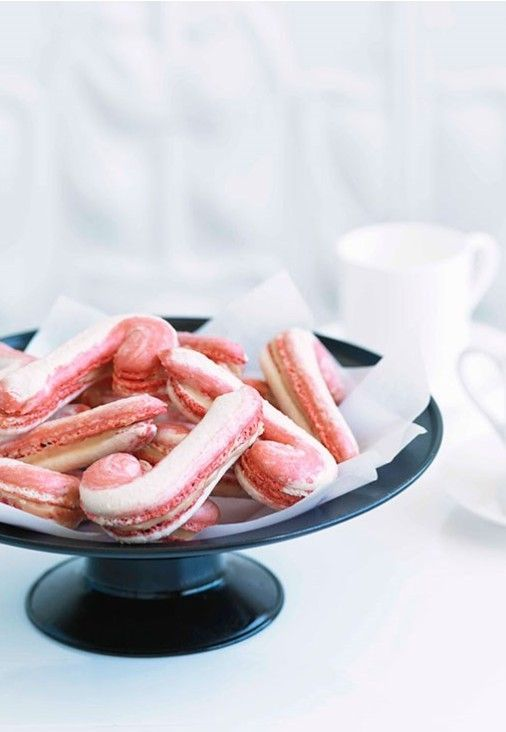 Candy Cane Macarons RECIPE by Adriano Zumbo - A sweet whimsical treat for a holiday tea.