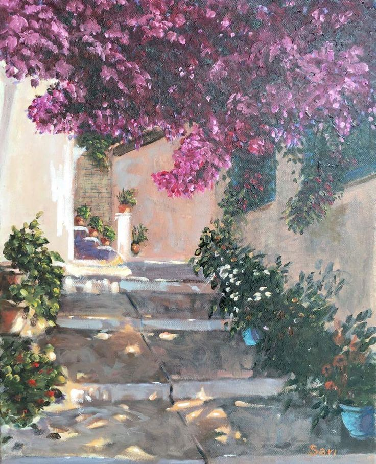 bougainvillea-s utca részlet bougainvillea street detail begonvilli sokak 50 X 40 cm  Oil on canvas